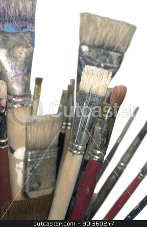 lots of used brushes stock photo, detail of some used brushes with paint remains by prill