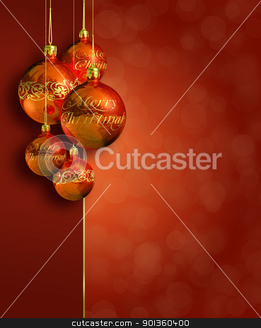 Modern styled warm red christmas decor. stock photo, Modern styled warm red christmas decor, greeting card, with copy space by exvivo