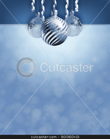 Elegant christmas decor. stock photo, Elegant blue christmas header and copy space. by exvivo
