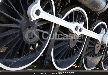 White wall Train wheels stock photo, White walled old black train wheels diminishing to right by bobkeenan