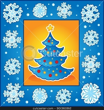 Christmas theme greeting card 5 stock vector clipart, Christmas theme greeting card 5 - vector illustration. by Klara Viskova
