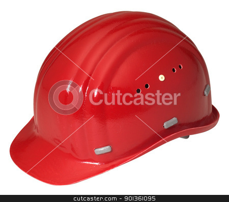 red helmet stock photo, red hard hat isolated on white by prill