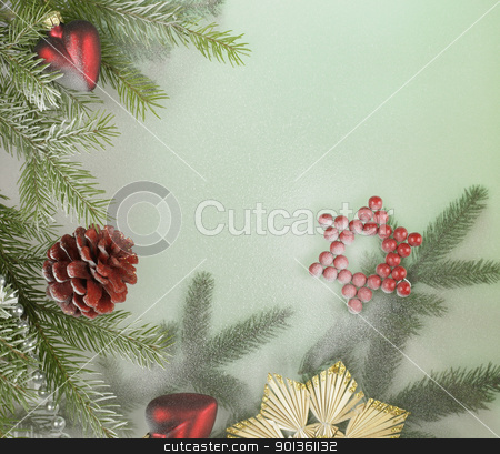 decorative christmas back stock photo, christmas decoration with various baubles and copyspace in green back by prill
