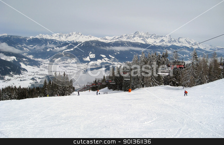 panoramic scenery around Wagrain stock photo, skiing and winter scenery in Wagrain (Austria) by prill