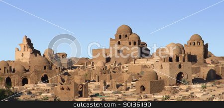 egyptian mausoleums in sunny ambiance stock photo, pictorial scenery with lots of mausoleums in Aswan (Egypt) by prill