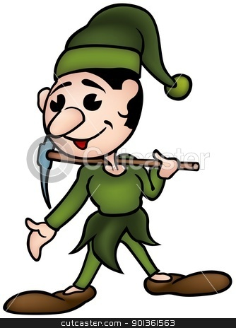 Sprite and Pickaxe stock photo, Little  Sprite and Pick axe - colored cartoon illustration by derocz