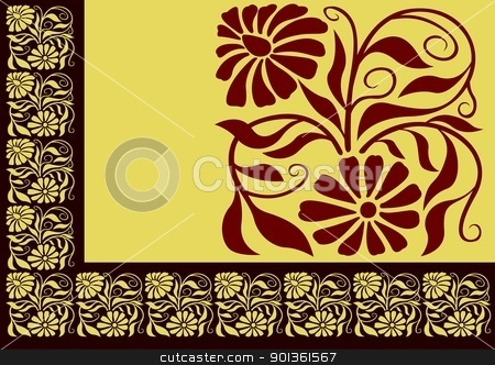 Floral Border stock photo, Brown Floral Border - colored background illustration by derocz