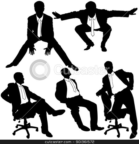 Business Silhouettes stock photo, Office Man Posing - black business silhouettes by derocz