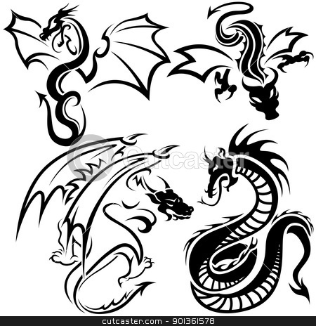 Tattoo Dragons stock photo, Tattoo Dragons - black illustration by derocz
