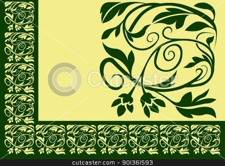Floral Border stock photo, Green Floral Border - colored illustration by derocz