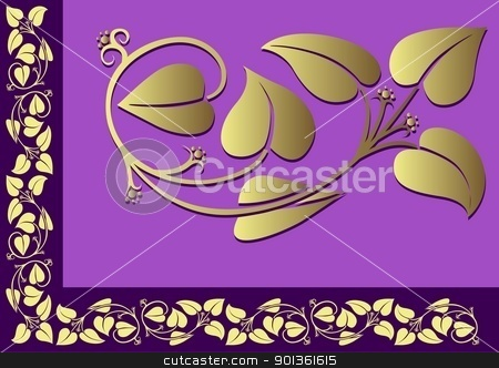 Floral Border stock photo, Violet Floral Border - colored illustration by derocz