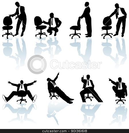 Business Silhouettes stock photo, Office Man and Rolling Chair - black business silhouettes by derocz