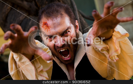 Evil male vampire stock photo, Evil male vampire reaching hands to the camera and roaring by vilevi