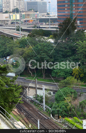 Train rail in city stock photo, Train rail in city by Keng po Leung