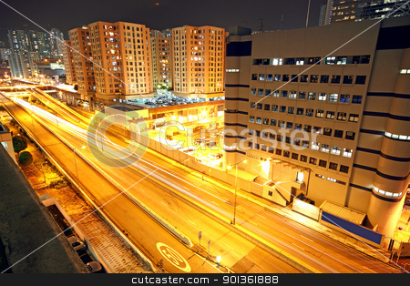 urban landscape at night and through the city traffic  stock photo, urban landscape at night and through the city traffic  by Keng po Leung