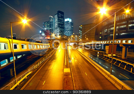 modern urban city at night  stock photo, modern urban city at night  by Keng po Leung