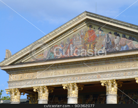 Hall of Art stock photo, Upper detail of the Hall of Art near Heroes' Square, Budapest by Massimiliano Pieraccini