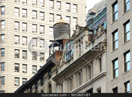 architectural detail with water reservoir stock photo, wooden water reservoir on house top in New York (USA) by prill