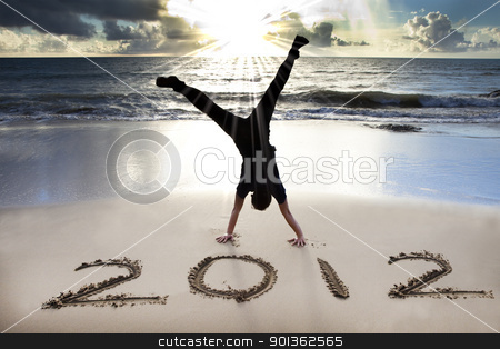 happy new year 2012 on the beach with sunrise  stock photo, happy new year 2012 on the beach with sunrise  by tomwang
