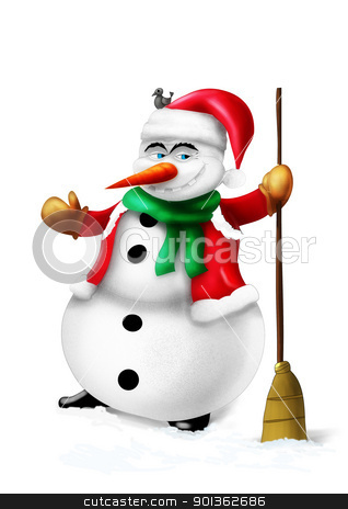 Smiling snowman isolated on white stock photo, Smiling snowman with broom and green scarf isolated on white background illustration by aos1212