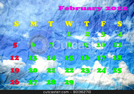 Calendar of February 2012 stock photo, Calendar of February 2012 by photomyheart