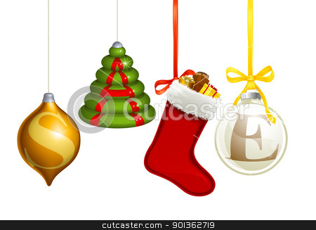 Sale Christmas decorations stock vector clipart, Set of Christmas decorations forming the word sale by Christos Georghiou