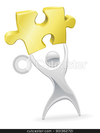 Metal mascot holding up a jigsaw puzzle piece stock vector clipart, Metal character mascot holding up a jigsaw puzzle piece. Solution or opportunity concept. by Christos Georghiou