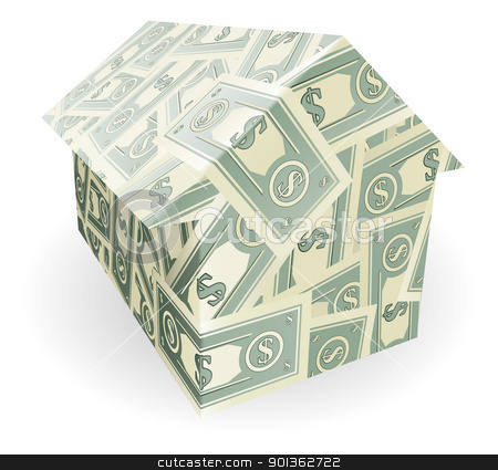 Dollar bills house stock vector clipart, Illustration of a house made out of dollar notes by Christos Georghiou