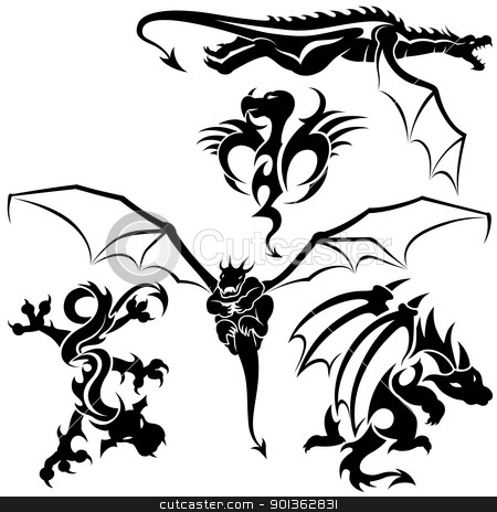 Dragons stock photo, Tattoo Dragons - black illustration by derocz
