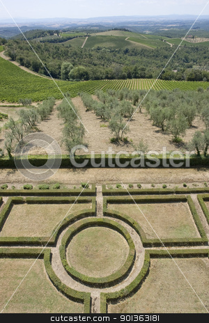 Castle of Brolio stock photo, idyllic scenery with ornamental garden around Castle of Brolio near Gaiole in Chianti, located in the italian region Tuscany by prill