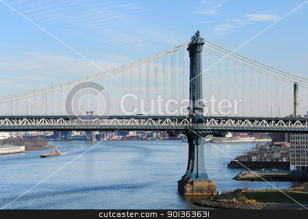 Manhattan Bridge and East River stock photo, city view of New York showing a detail of the Manhattan Bridge (USA) and East River in sunny ambiance by prill