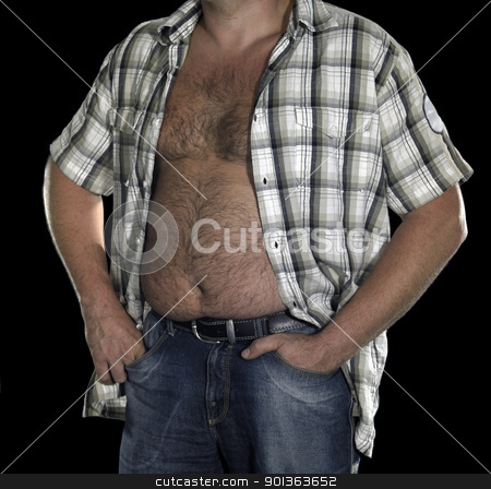 belly of a corpulent man stock photo, fat male belly in black back by prill