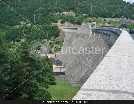 embankment dam in Thuringia stock photo, embankment dam in Thuringia by prill