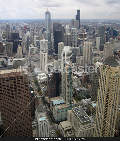 Chicago aerial view stock photo, aerial view of Chicago (USA) in cloudy ambiance by prill