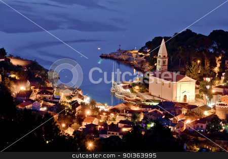 Veli losinj aerial view at evening stock photo, Veli losinj aerial view at evening, Croatia, Island of Losinj by xbrchx