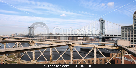 New York with Manhattan Bridge stock photo, city view of New York from Brooklyn Bridge (USA) in sunny ambiance by prill
