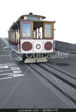 american streetcar stock photo, nostalgic streetcar on tracks in San Francisco (USA) by prill