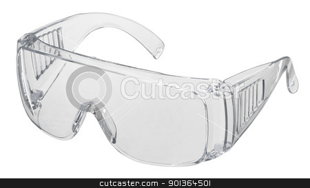 safety glasses stock photo, studio shot of a pair of clear safety glasses, cutout with clipping path by prill