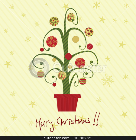 Christmas card stock vector clipart, Retro christmas card with tree. by wingedcats
