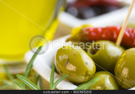Green and black olives stock photo, Green and black olives, olive oil and herbs by klenova