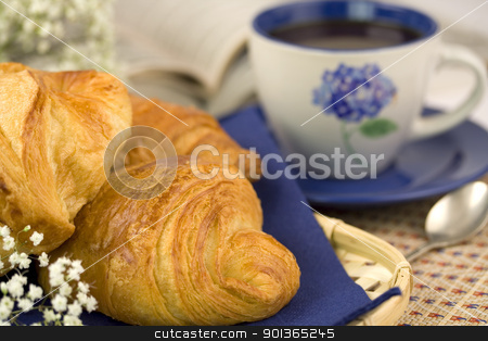 Breakfast with coffee and croissants stock photo, Breakfast with coffee and croissants. Selective focus by klenova