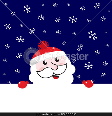 Santa blank banner, night snowing winter background - vector stock vector clipart, Cute Santa behind white blank banner - vector cartoon  by BEEANDGLOW