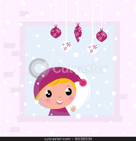 Cute Christmas Child looking on Snow through Window stock vector clipart, Little blond Child looking on snowing. Vector cartoon Illustration  by BEEANDGLOW