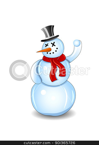 Smiling snowman with red scarf and snowball isolated on white stock vector clipart, Smiling snowman with red scarf and snowball isolated on white background illustration. Fully editable. Only gradients. No flatten transparency. by aos1212