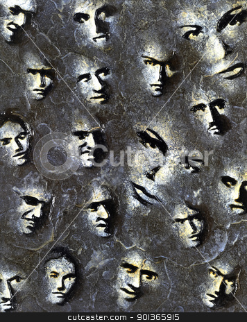 Sur Face stock photo, colored stone engraving done by me showing lots of modified faces by prill