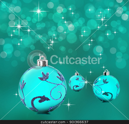 Blue christmas background with decorative bauble balls stock photo, Blue christmas background with decorative bauble balls by tish1