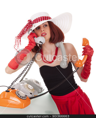 Fashion girl in retro style with vintage phones stock photo, Confused fashion girl in retro style with three vintage phones on white background by Iryna Rasko