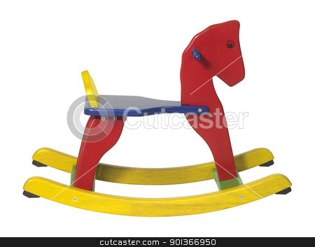 rocking horse sideways stock photo, studio photography of a colorful wooden rocking horse in white back by prill