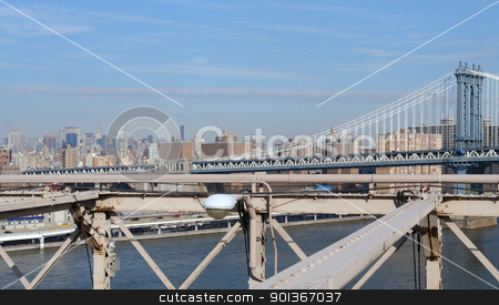 New York skyline and Manhattan Bridge stock photo, city view of New York seen from Brooklyn Bridge (USA) by prill