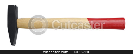 small hammer stock photo, studio photography of a hammer with wooden handle in white back by prill